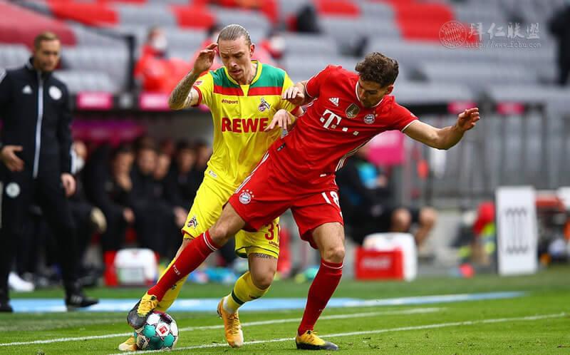 德甲第23轮 拜仁5:1科隆 诺伊尔玩火 穆勒格纳布里替补造3球