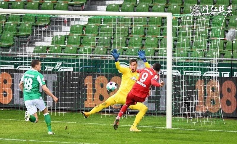 德甲第25轮 不莱梅1:3拜仁 格雷茨卡格纳布里莱万破门