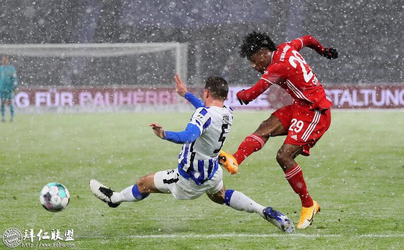 德甲第20轮 大雪纷飞中科曼唯一进球助拜仁险取五连胜