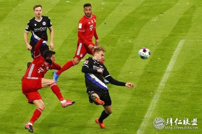 德甲第21轮 拜仁3:3比勒费尔德 联赛5连胜遭终结