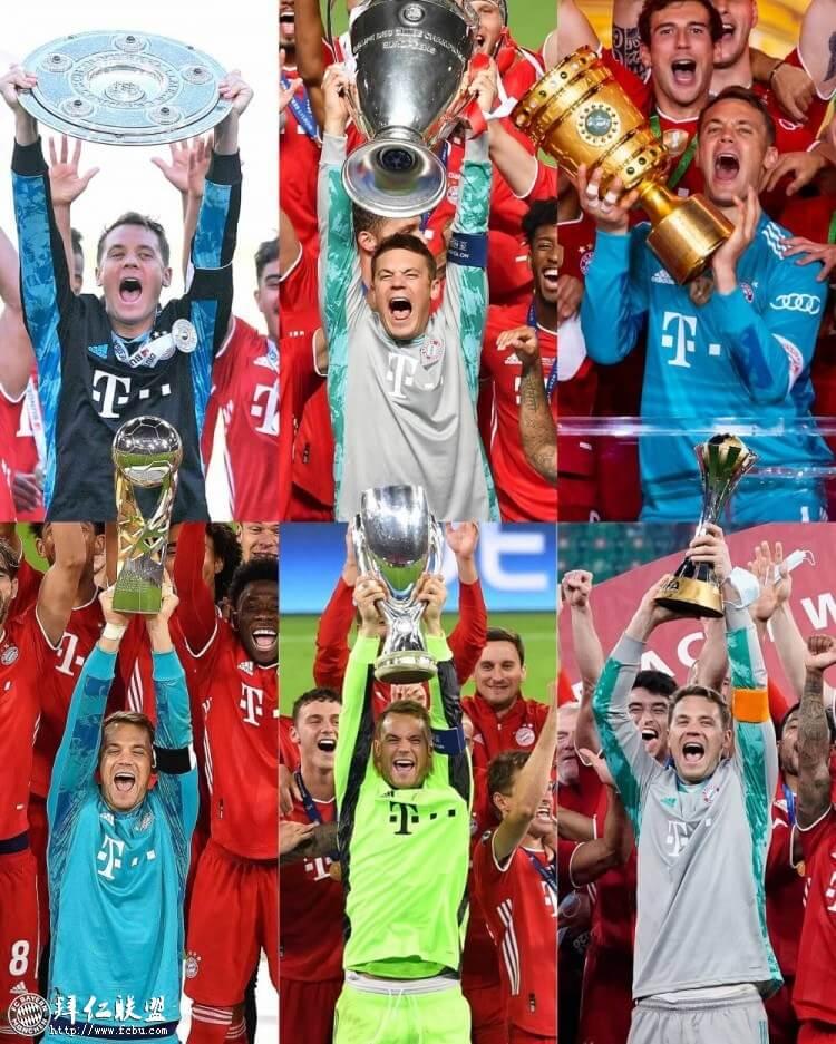 诺伊尔举起德甲冠军、德国杯冠军、欧冠冠军、欧洲超级杯冠军、德国超级杯冠军和世俱杯冠军,六大奖杯的捧杯瞬间